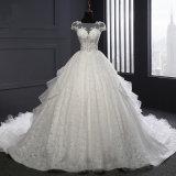짧은 소매 레이스 Organza 공 신부 드레스