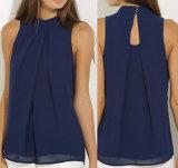 方法女性の軽くて柔らかい袖なしのブラウスの夏の偶然のワイシャツの黒のブラウス