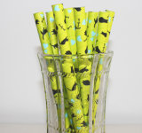Lovely Cat Design Multicolor Straight Paper Drinking Straw