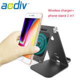 Cargador de teléfono inalámbrico de metal de aluminio soporte para el iPhone8/Samsung S7/8