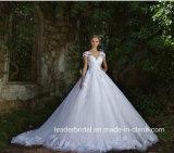 帽子は花嫁の夜会服の贅沢なレースのテュルのウェディングドレス2017 G17288にスリーブを付ける
