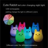 Energie - besparing 7 Lichte LEIDENE van de Nacht van de Baby van het Konijn van Kleuren Leuke Navulbare Nacht Lichte USB