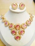 Bisutería de cristal de Bodas chapado en oro Conjunto de joyas de ojo de gato