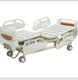 Carril lateral plástico manual funcional de la cama de hospital del lujo tres