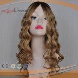 Parrucca superiore di seta riccia bionda del merletto (PPG-l-0637)