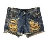 Отверстие джинсовой короткие брюки джинсы с металлической цепи для девочек