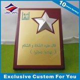 Placa de parede de prêmio de gravura em bronze de madeira personalizada