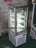 Congelador de sorvete vertical de 25 graus com vidro de exibição de 3 lados
