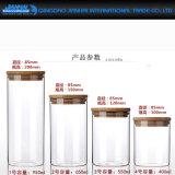Hohe Borosilicat-Glas-Speicher-Flasche mit Bambusdeckel