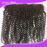 Hotsale Curly Free Parte High Grade Peruvian Virgin Hair #4 Borwn13X6 Bleached Knots Lace Closure Frontal con Baby Hair