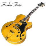 La musique / Jaune Semi-Hollow Hanhai guitare électrique avec matériel d'or (L5)