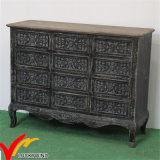Commode Handmade Black Home Cabinet Vintage French Living Room Furniture