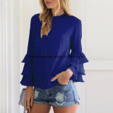 Втулки Flounce O-Шеи повелительниц осени рубашек кофточек женщин верхние части Blusas шикарной длинней твердые вскользь свободные