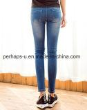 Pantaloni lunghi delle donne dei jeans scarni su ordinazione della graffiatura