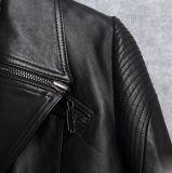 Nuevas mujeres de la chaqueta del cortocircuito del cuero genuino de la chaqueta de la motocicleta del diseño