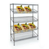 Shelving inclinado Multifunction do indicador do metal do cromo de 4 séries