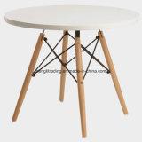 Mesa de jantar redonda com as pernas de metal inclinado elegante e cinza folheado de madeira Tampo da mesa