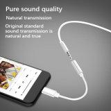 iPhone 8のための短く白い可聴周波ジャックのヘッドホーンのアダプターケーブル