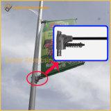 Rue Pôle en métal d'acier inoxydable annonçant le fixateur de signe (BT04)