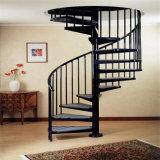 カスタマイズされた木製の踏面の螺旋階段のステンレス鋼の柵で囲む螺旋階段の価格