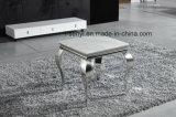 Ausgeglichenes Glas-Oberseite-Edelstahl-Sofa-Tisch-französische seitliche Tisch-Enden-Tisch-Wohnzimmer-Möbel