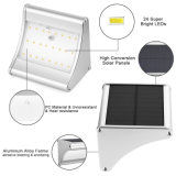 24 LED du capteur de mouvement radar à micro-ondes, boîtier en aluminium étanche IP65 Mur de l'énergie solaire lumière