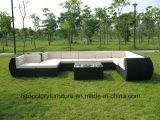Mobilia stabilita del blocco per grafici del PE del rattan della Tabella esterna piana di alluminio del sofà
