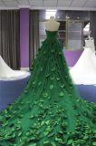 Mit Rüschen besetztes Schatz-Tulle-grünes Handsewn Blatt-Dame-Partei-Abend-Kleid