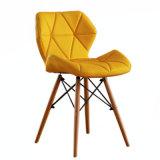 Желтый EMS стиле из формованной пластмассы с одной спальней оболочки обеденный стул со стороны дерева установочные ножки в природе ног
