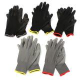 Trazador de líneas del poliester de Balck con los guantes disipantes revestidos negros de la PU