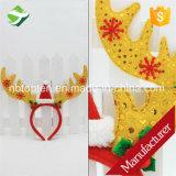 Presente lindo de Bell Hairband del copo de nieve de la pluma de las cornamentas del reno de la venda de la Navidad