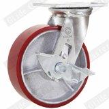 Echador industrial de la rueda del poliuretano de la base de hierro de 8 pulgadas con el freno