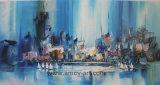 壁のためのキャンバスのハンドメイドの青く抽象的な油絵
