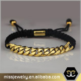 Edelstahl-kundenspezifisches Goldumsponnenes kubanisches Link-Armband Mjb030