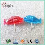 Kawaii明確なカラー25mmプラスチック魚の形ヘッド押しPin