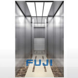 Levage d'ascenseur de passager de FUJI avec le véhicule d'acier inoxydable de miroir à vendre