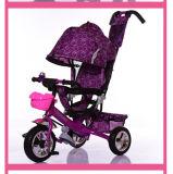Passeio de bebé em brinquedos a empurrar as crianças em pó de triciclo