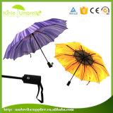 도매 21inch 자동적인 열려있는 3 단면도 접히는 우산