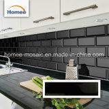 La cucina Backsplask ha smussato le mattonelle del sottopassaggio del mosaico lustrate colore nero puro