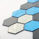 Azulejo de mosaico del vidrio manchado del suelo de la plata del oro del color para la cocina