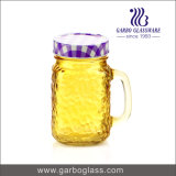 [500مل] لون زجاجيّة [مسن جر] عصير زجاجة مع مقبض وتبن