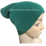 Chapéu feito malha do Beanie do Snowboard do produto do volume da fábrica inverno Slouchy verde acrílico
