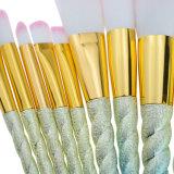 L'insieme di spazzole a spirale professionale di trucco dell'unicorno del Rainbow 10PCS per l'ombretto del fondamento arrossisce polvere di profilo