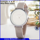Montre-bracelet classique de dames de quartz de courroie en cuir d'ODM (Wy-085D)