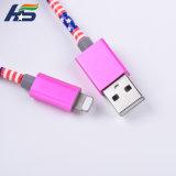 금속 iPhone를 위한 맨 위 USB 마이크로 전화선 땋는 가죽 비용을 부과 케이블