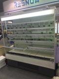 플러그 접속식 금속/유리제 선반을 미끄러지기를 가진 열려있는 전시 냉장고 냉각기
