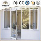 Portes en verre en plastique de tissu pour rideaux de la fibre de verre bon marché personnalisées par fabrication UPVC/PVC des prix d'usine de bonne qualité avec le gril à l'intérieur