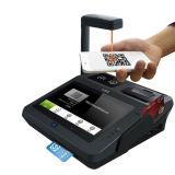 Caja registradora terminal de la posición de la tablilla androide con el explorador de clave de barras y la impresora termal del recibo