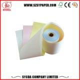 papel de papel de caja registradora 3-Ply de la NCR del rodillo del papel sin carbono 55g