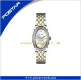 Het Kristal van dames om het Horloge van het Roestvrij staal van de Vorm